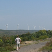 A Line of Wind Turbines